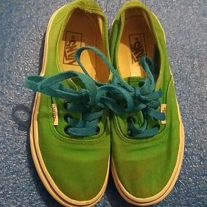 Van's size 1 youth boys green blue laces stained